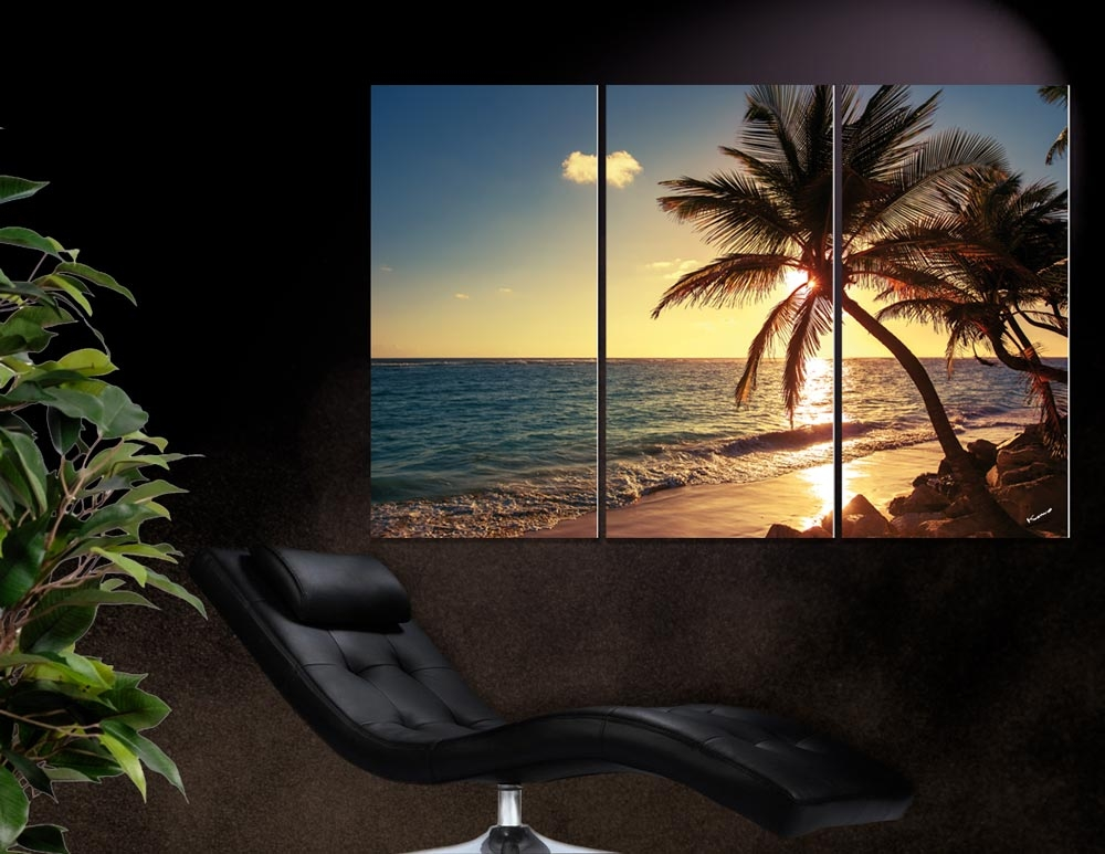 Coucher de soleil sur la plage(tryptique)