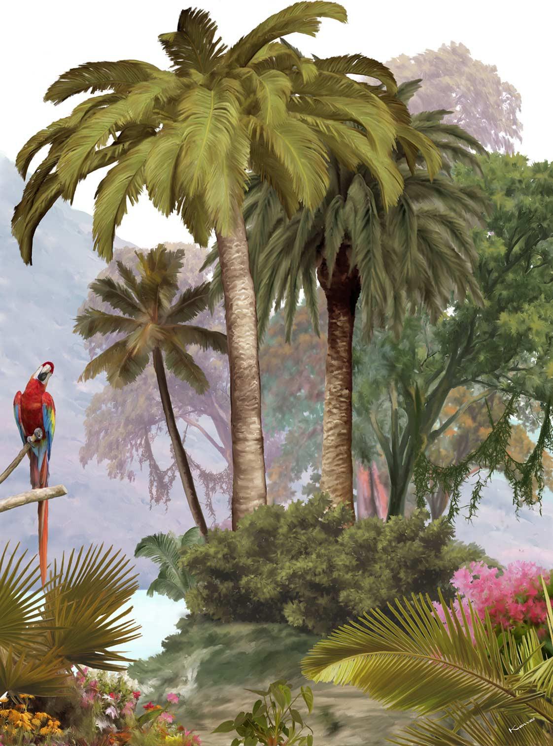 Perroquet et palmier